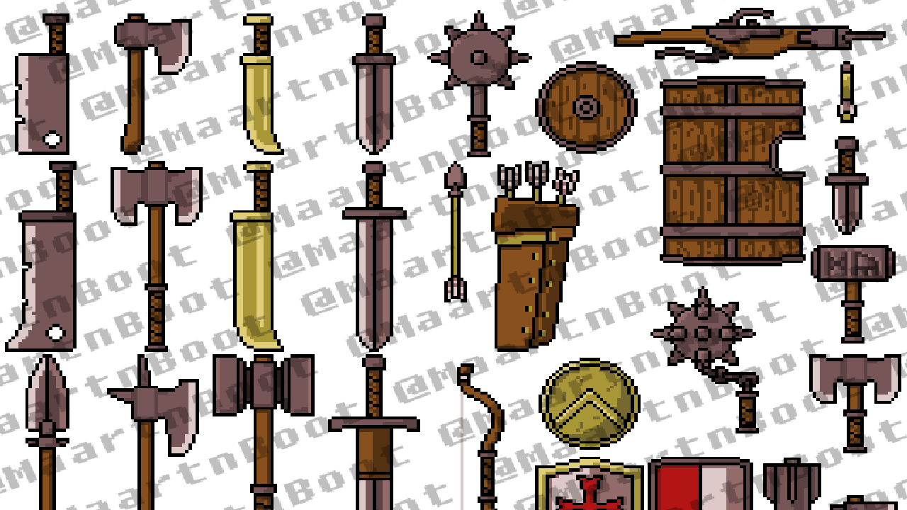 Pixelart Medieval Weapons Pack By Maarten Boot Gamemaker