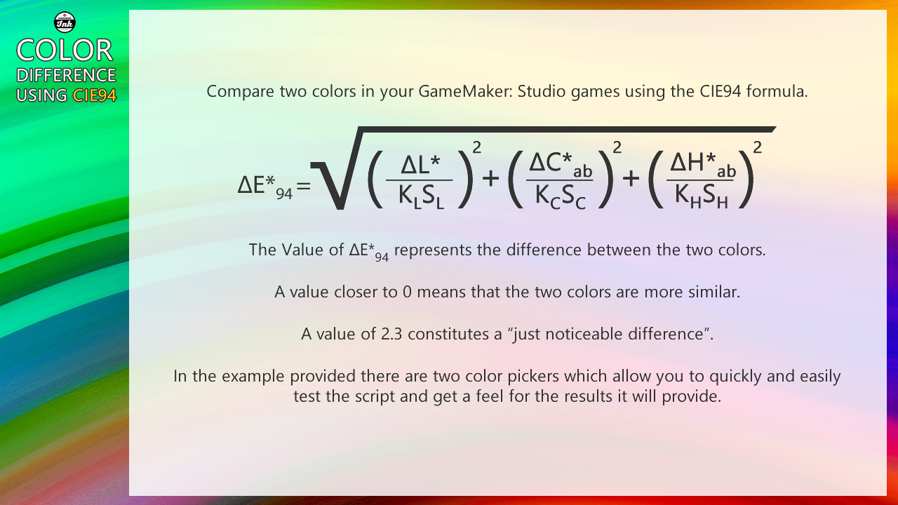 Game maker color picker - Color Difference Using Cie94 By Chequered Ink Ltd Gamemaker Marketplace
